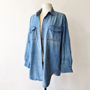 Vintage 90's Denim Button Down Oversized Shirt
